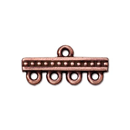 Beaded 4-1 Link, Antiqued Copper Plate, 20 per Pack