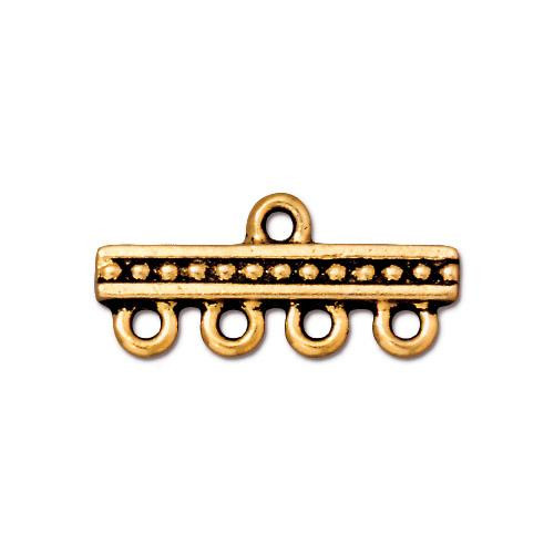 Beaded 4-1 Link, Antiqued Gold Plate, 20 per Pack