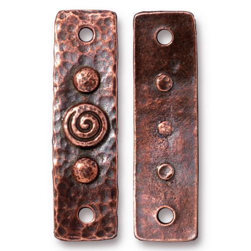 Spiral & Rivets Link, Antiqued Copper Plate, 10 per Pack