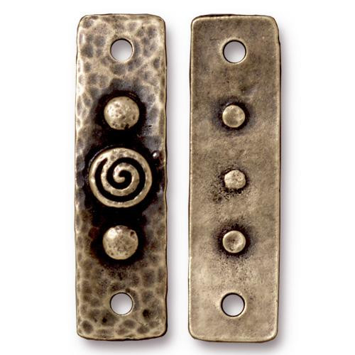 Spiral & Rivets Link, Oxidized Brass Plate, 10 per Pack