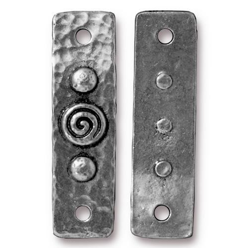 Spiral & Rivets Link, Antiqued Pewter, 10 per Pack