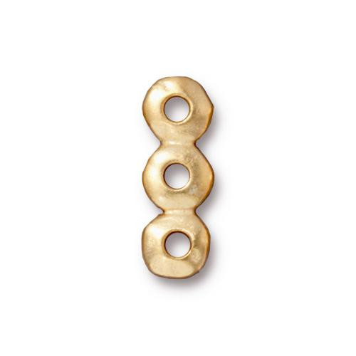 Nugget 3 Hole Bar Link 7mm, Gold Plate, 20 per Pack