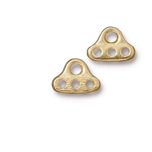 End Bar 3 Hole, Gold Plate, 20 per Pack