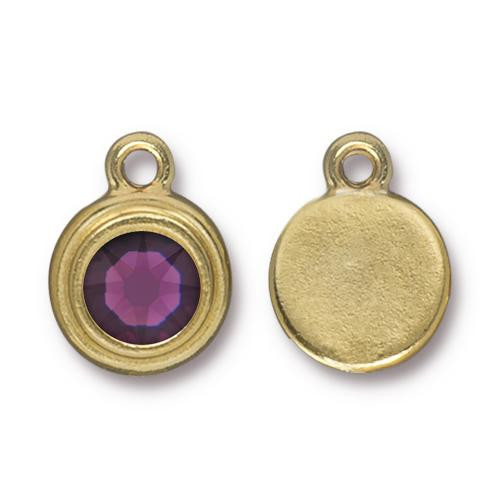 Amethyst Stepped Drop, Gold Plate, 10 per Pack