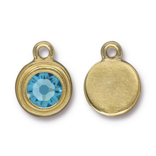 Aquamarine Stepped Drop, Gold Plate, 10 per Pack