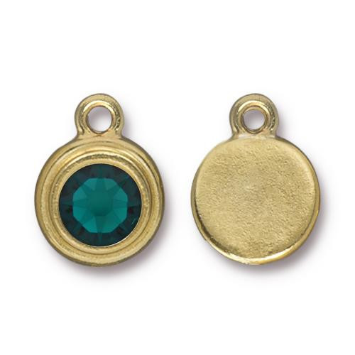 Emerald Stepped Drop, Gold Plate, 10 per Pack