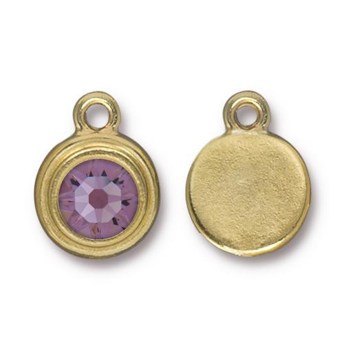 Lt. Amethyst Stepped Drop, Gold Plate, 10 per Pack