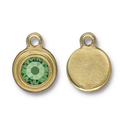 Peridot Stepped Drop, Gold Plate, 10 per Pack