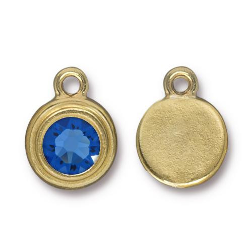 Sapphire Stepped Drop, Gold Plate, 10 per Pack