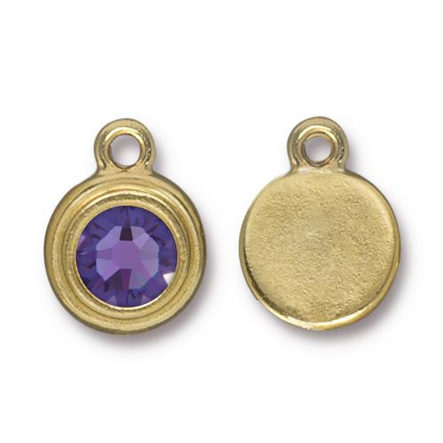 Tanzanite Stepped Drop, Gold Plate, 10 per Pack