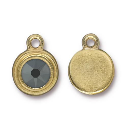 Clearance: Jet Hematite Stepped Drop, Gold Plate, 10 per Pack