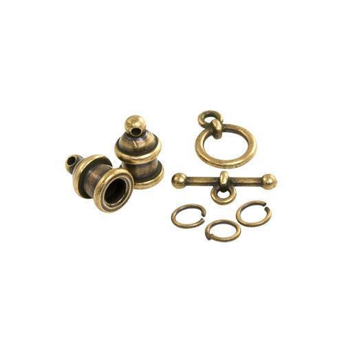 Clearance: Pagoda 4mm Cord End Set, Oxidized Brass Plate, 3 per Pack