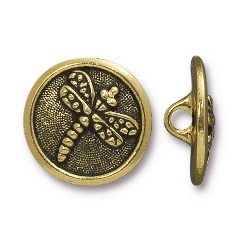 Dragonfly Button, Antiqued Gold Plate, 20 per Pack