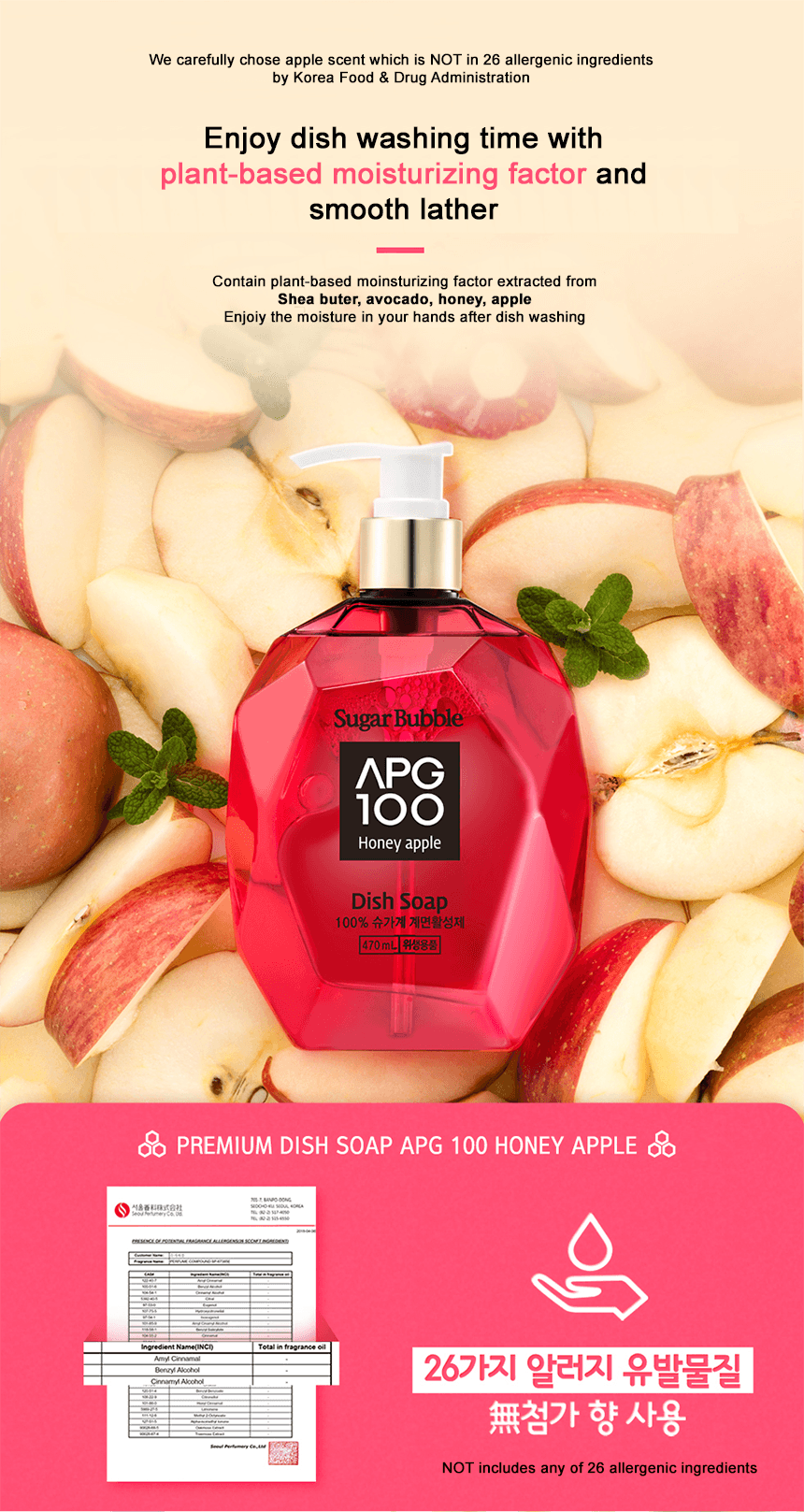 Sugar Bubble APG100 Moisturizing factor and allergy tested