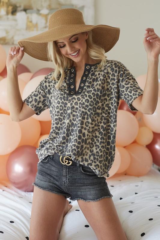 Leopard Grommet Top