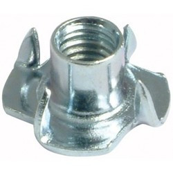 """3/8-16 x 7/16"""" 4 Prong Tee Nut Zinc Plated (Box of 100)"""