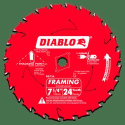 "carbide tipped circular saw blade,7-1/4"" circular blade for wood,framing blade,5/8"" Arbor,diamond knockout"