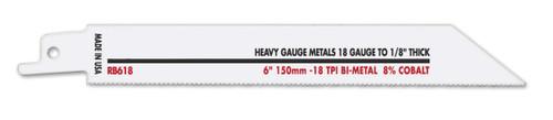 MK Morse 6x3/4x.035 Bi-Metal Reciprocating Saw Blade,18TPI, 5pk