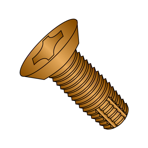 "12-24 x 1/2"" Phillips Flat Undercut Hinge Screw Brass Plated"