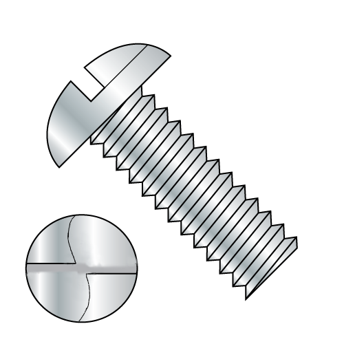 """10-24 x 1/2"""" One Way Round Head Machine Screw Zinc Plated"""