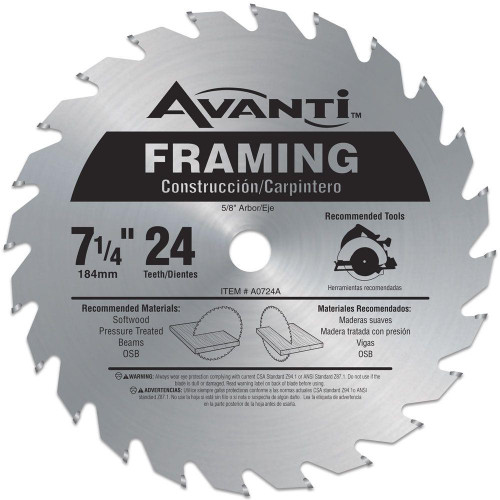 Avanti,carbide tipped circular saw blade,7-1/4 circular blade for wood,framing blade,5/8 arbor