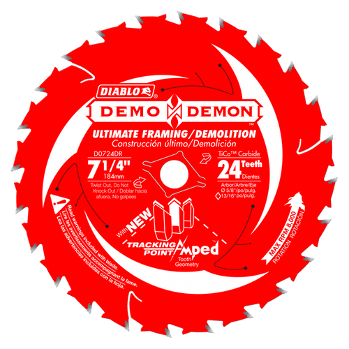 "carbide tipped circular saw blade,7-1/4"" circular blade for wood,framing blade,5/8"" Arbor,diamond knockout,Ultimate,Demo,Demolition"