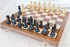 """Championship Classic ANTIQUE BLACK Staunton Wooden Chess Set with 95mm (3.75"""") King and 46cm (18"""") Folding Chess Board"""