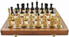 "Zagreb 59 ANTIQUE BLACK  Staunton Wooden Chess Set with 95mm King  and 46cm (18"") Folding Chess Board. LIMITED STOCK"