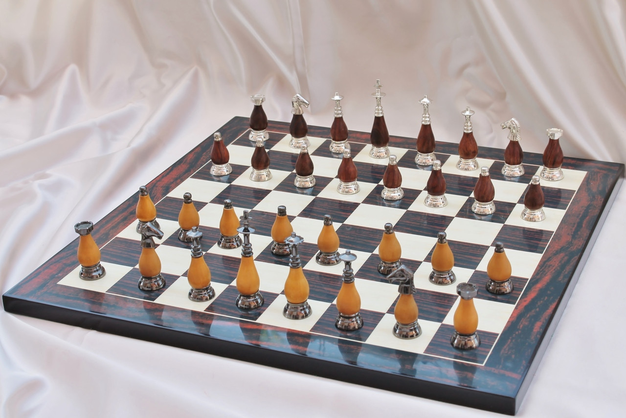 """Casablanca Classic Brass & Wood Modern Chess Set with 89mm (3 5"""") King  includes Chess Board"""