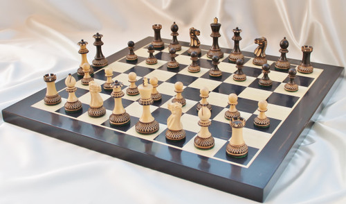 "Grand Master Classic Burnt Staunton Luxury Wooden Chess Set with 102mm (4.00"") King, Chess Board & FREE Case"