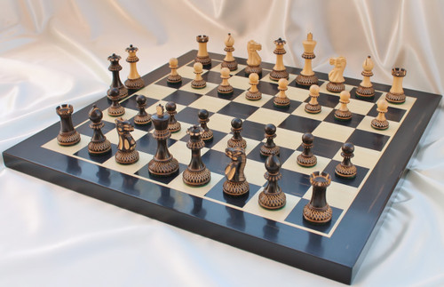 """Grand Master Classic Burnt Staunton Luxury Wooden Chess Set with 102mm (4.00"""") King, Chess Board & Case"""