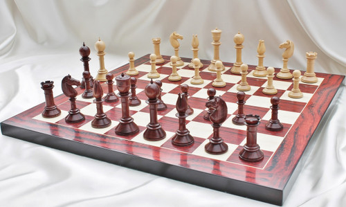 """Edinburgh Antique Luxury Chess Set with 108mm (4.25"""") King in Red Sandal Wood, Chess Board & Case"""