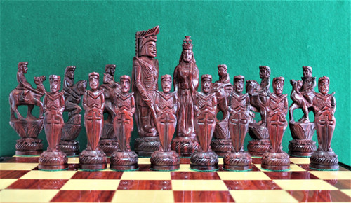 "Alexander and King Porus Luxury Chess Set with 178mm (7.00"") King in Red Sandal Wood, Chess Board & FREE Chess Pieces Storage Case"