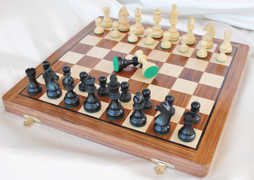 """Championship Classic Staunton Wooden Chess Set with 70mm (2.75"""") King in ANTIQUE BLACK, 36cm (14"""") Folding Chess Board"""