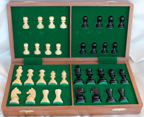 """Championship Classic ANTIQUE BLACK Staunton Wooden Chess Set with 70mm (2.75"""") King and 36cm (14"""") Folding Chess Board"""