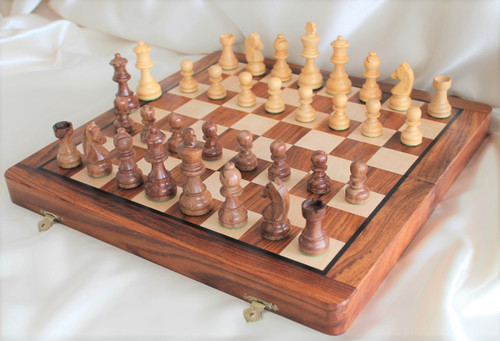 "Championship Classic ROSEWOOD Staunton Wooden Chess Set  with 70mm (2.75"") King and 36cm (14"") Folding Chess Board"