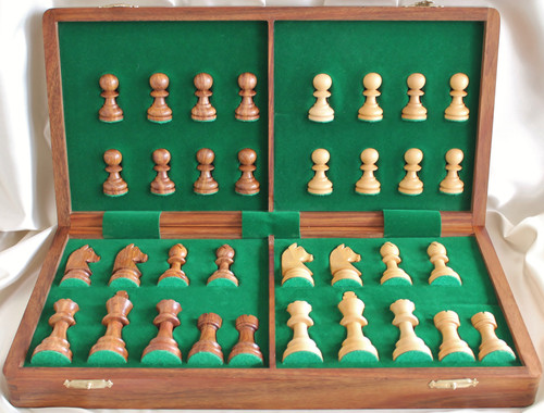 """Championship Classic ROSEWOOD Staunton Wooden Chess Set  with 70mm (2.75"""") King and 36cm (14"""") Folding Chess Board"""