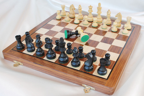"Championship Classic Staunton Wooden Chess Set  with 82mm (3.25"") King in ANTIQUE BLACK, 41cm (16"") Folding Chess Board"