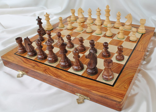 "Championship Classic ROSEWOOD Staunton Wooden Chess Set with 95mm (3.75"") King and 46cm (18"") Folding Chess Board"