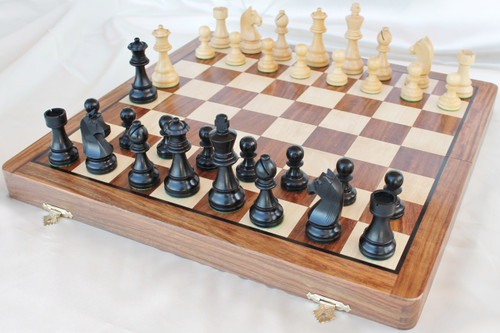 "Championship Classic ANTIQUE BLACK Staunton Wooden Chess Set with 95mm (3.75"") King and 46cm (18"") Folding Chess Board"