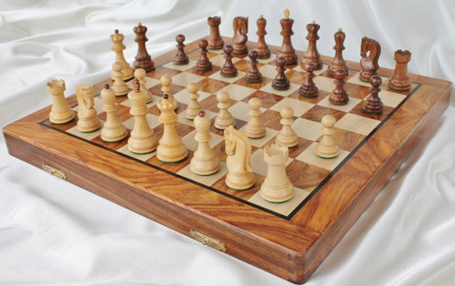 "Zagreb 59 Staunton Wooden Chess Set with 82mm (3.25"") King, 41cm (16"") Folding Chess Board"