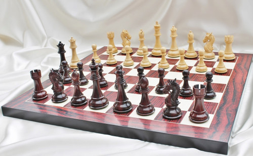 """Heritage Knight Staunton Luxury Chess Set with 108mm (4.25"""") King in Rosewood, Chess Board & Case"""