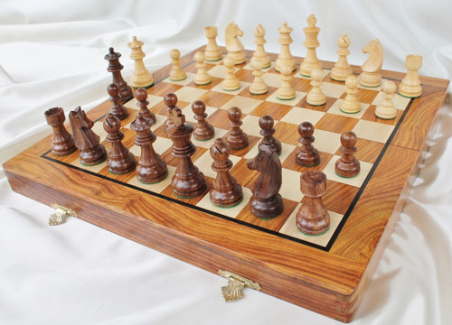 "Championship Classic ROSEWOOD Staunton Wooden Chess Set with 83mm (3.25"") King and 41cm (16"") Folding Chess Board"
