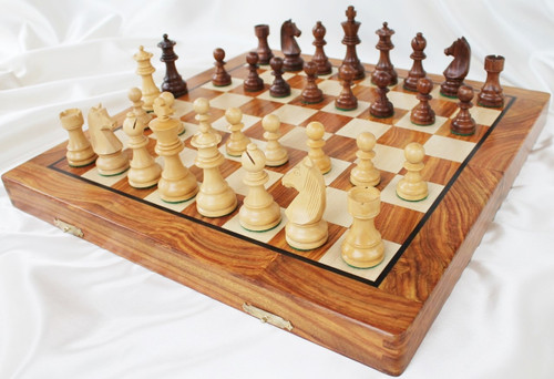 """Championship Classic ROSEWOOD Staunton Wooden Chess Set with 82mm (3.25"""") King and 41cm (16"""") Folding Chess Board"""