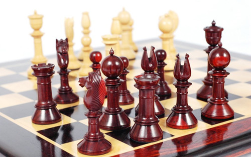"Edinburgh Antique Luxury Chess Pieces Set with 108mm (4.25"") King in Red Sandal Wood"