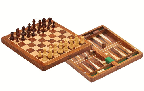 "Travel Chess Set, Folding Wooden Magnetic, Backgammon, Chess & Checkers Set 30cm (12"")"