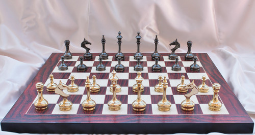 "Modern & Sleek Solid Brass Luxury Chess Set with 95mm (3.75"") King Includes Chess Board"