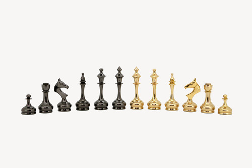 "Modern & Sleek Brass Luxury Chess Pieces Set with 95mm (3.75"") King"