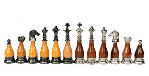 "Casablanca Classic Modern Staunton Chess Pieces Set with 89mm (3.5"") King in Brass & Wood"