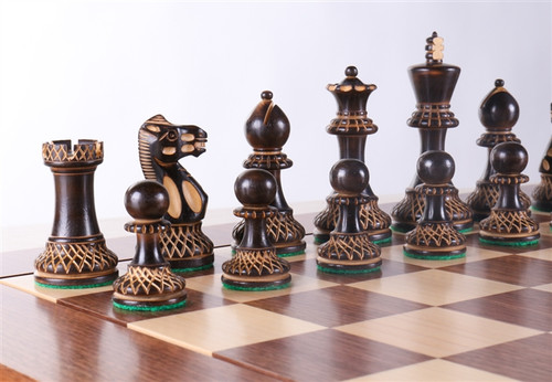 """Grand Master Classic Burnt Staunton Wooden Chess Pieces Set with 102mm (4.00"""") King"""
